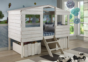 Donco Kids Twin Tree House Loft Bed 1380-TLRS-Loft Beds-HipBeds.com