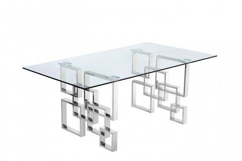 Meridian Alexis Chrome Dining Table - 731-T-Dining Tables-HipBeds.com