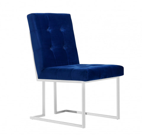 Meridian Alexis Navy Velvet Dining Chair (Set of 2) - 731Navy-C-Chairs-HipBeds.com