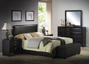 ACME Ireland III Queen Bed (Panel) Black PU - 14340Q-Platform Beds-HipBeds.com