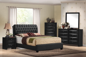 ACME Ireland II Queen Bed (Button Tufted) Black PU - 14350Q-Platform Beds-HipBeds.com