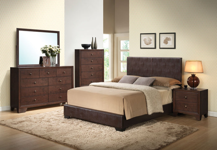 ACME Ireland III Queen Bed (Panel) Brown PU - 14370Q