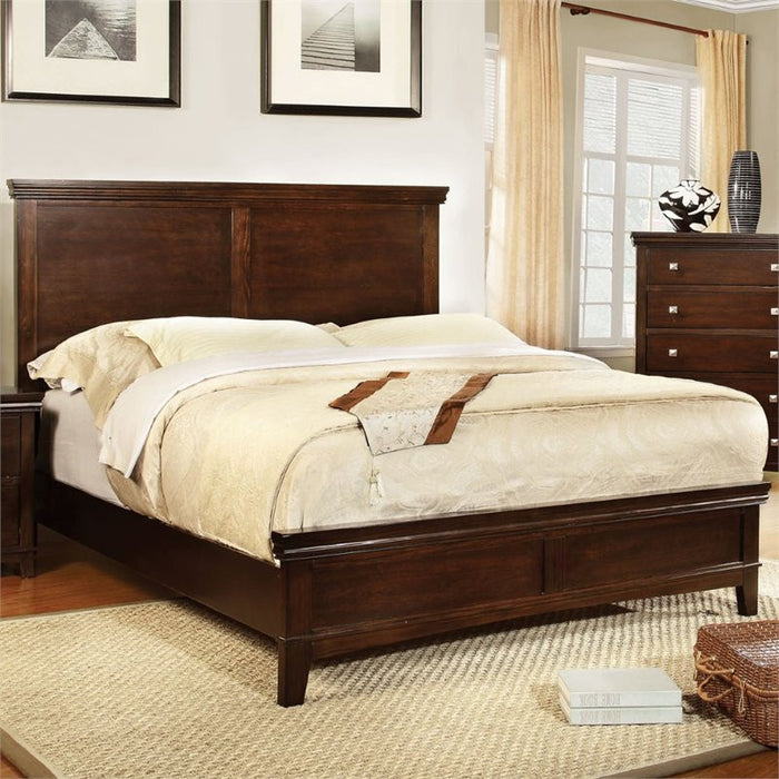 Furniture Of America Khaled Transitional Style Queen Bed In Brown Cherry
