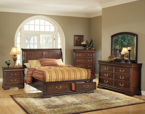 ACME Hennessy Queen Bed w/Storage Brown Cherry - 19450Q-Platform Beds-HipBeds.com