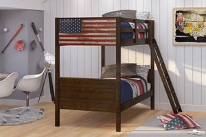 Donco Kids Twin/Twin Patriot Flag Bunk Bed 1959-TTM-Bunk Beds-HipBeds.com