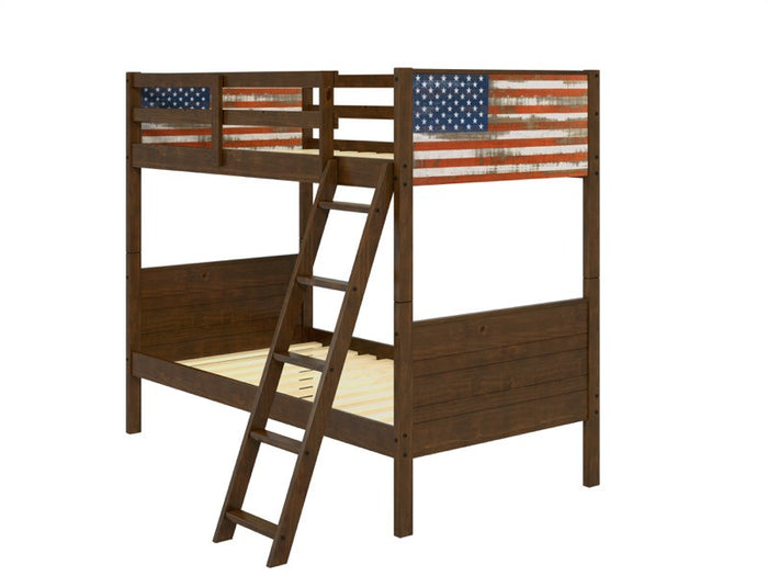 Donco Kids Twin/Twin Patriot Flag Bunk Bed 1959-TTM