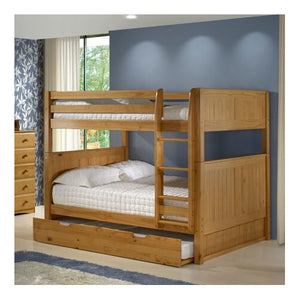 Camaflexi Full over Full Bunk Bed with Twin Trundle - Panel Headboard - Natural Finish - C1621_TR-Bunk Beds-HipBeds.com