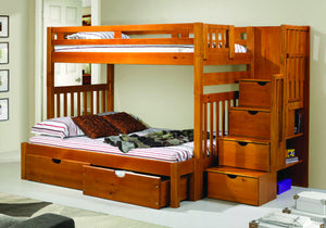 Donco Kids Twin/Full Stairway Bunk Bed Honey 200-TTSH/EXT-Bunk Beds-HipBeds.com
