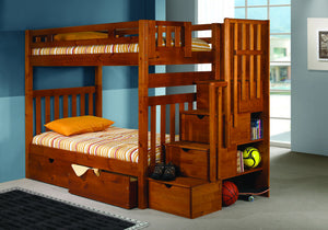 Donco Kids Twin /Full Ladder Bunk Bed Honey 200-TTH/EXT-Bunk Beds-HipBeds.com