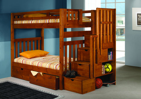 Donco Kids Twin/Twin Stairway Bunk Bed Honey 200-TTSH-Bunk Beds-HipBeds.com