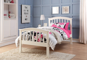 Donco Kids Twin Columbia Bed White 2014-TW-Panel Beds-HipBeds.com
