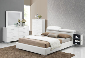 ACME Manjot Queen Bed w/Build In 2NS White PU - 20420Q-Platform Beds-HipBeds.com