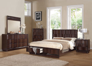 ACME Travell Queen Bed w/Storage Walnut - 20520Q-Panel Beds-HipBeds.com