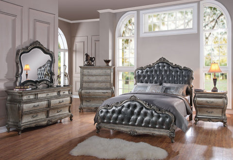 ACME Chantelle Queen Bed Antique Platinum & Silver Gray Silk-Like Fabric - 20540Q-Panel Beds-HipBeds.com