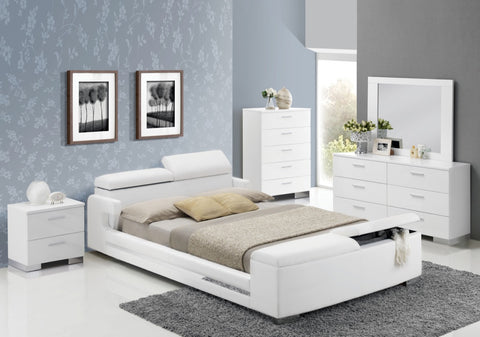 ACME Layla Eastern King Bed w/Storage White PU - 20677EK-Platform Beds-HipBeds.com