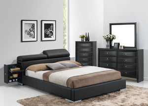 ACME Manjot Queen Bed Black PU - 20750Q-Platform Beds-HipBeds.com