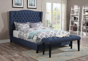 ACME Faye Queen Bed Blue Linen - 20880Q-Platform Beds-HipBeds.com
