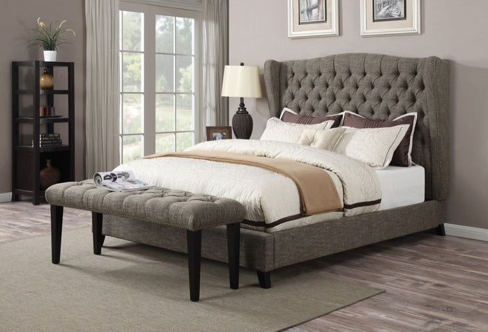 ACME Faye Queen Bed 2-Tone Chocolate Linen - 20900Q