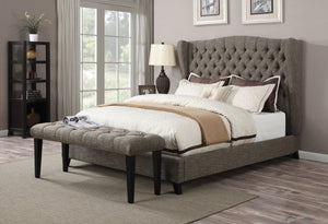 ACME Faye Eastern King Bed 2-Tone Chocolate Linen - 20897EK-Platform Beds-HipBeds.com