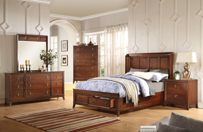 ACME Midway Eastern King Bed w/Storage Cherry - 20977EK