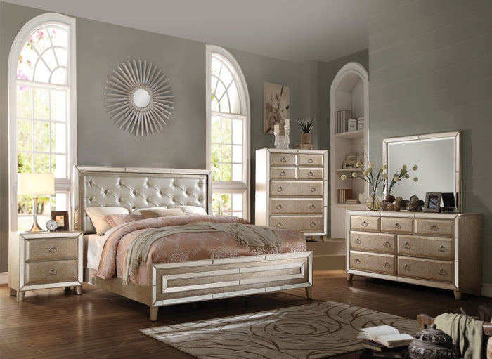 ACME Voeville Eastern King Bed Matte Gold PU & Antique Gold - 20997EK
