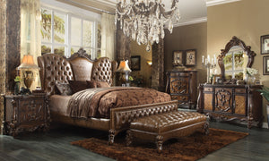 ACME Versailles Queen Bed 2-Tone Light Brown PU & Cherry Oak - 21100Q-Platform Beds-HipBeds.com