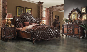 ACME Versailles Eastern King Bed 2-Tone Dark Brown PU & Cherry Oak - 21117EK-Platform Beds-HipBeds.com
