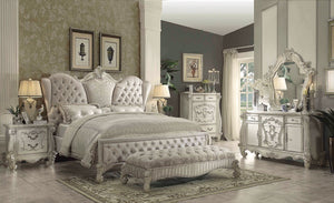 ACME Versailles Eastern King Bed Ivory Velvet & Bone White - 21127EK-Platform Beds-HipBeds.com