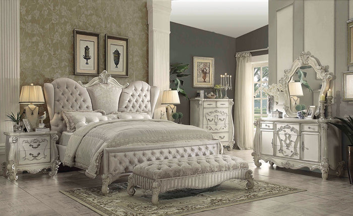 ACME Versailles Eastern King Bed Ivory Velvet & Bone White - 21127EK