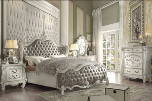 ACME Versailles Queen Bed Vintage Gray PU & Bone White - 21150Q-Platform Beds-HipBeds.com