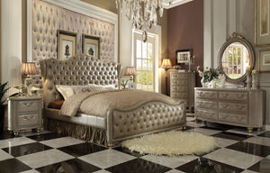 ACME Varada Queen Bed Vintage Bone PU & Champagne Gold Finish - 21240Q-Panel Beds-HipBeds.com