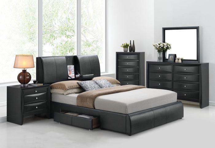 ACME Kofi Eastern King Bed w/Storage Black PU - 21266EK