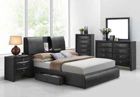ACME Kofi Queen Bed w/Storage Black PU - 21270Q-Platform Beds-HipBeds.com