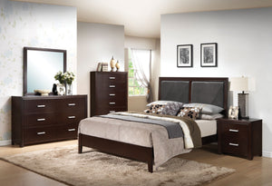 ACME Ajay Queen Bed Black PU & Espresso - 21420Q-Panel Beds-HipBeds.com