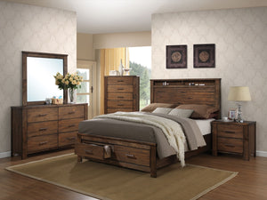 ACME Merrilee Queen Bed w/Storage Oak - 21680Q-Panel Beds-HipBeds.com