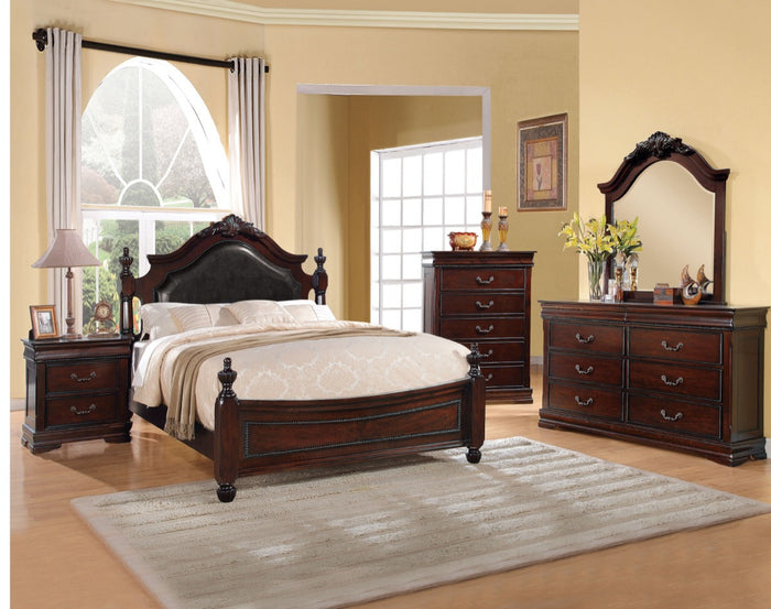 ACME Gwyneth Eastern King Bed Black PU & Cherry - 21877EK