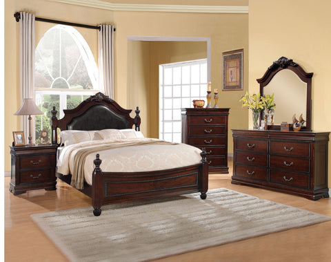 ACME Gwyneth Queen Bed Black PU & Cherry - 21880Q-Platform Beds-HipBeds.com