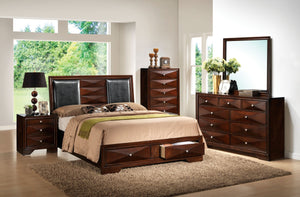 ACME Windsor Eastern King Bed w/Storage Black PU & Merlot - 21907EK-Platform Beds-HipBeds.com
