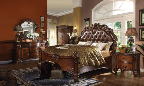 ACME Vendome California King Bed Cherry PU - 21994CK-Panel Beds-HipBeds.com