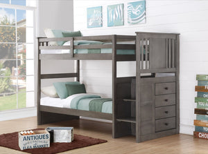 Donco Kids Stairway Bunk Bed Slate Grey 2204SG-Bunk Beds-HipBeds.com