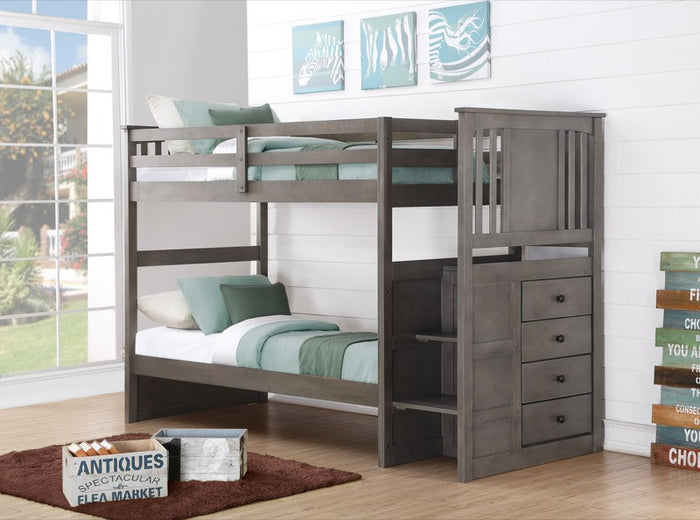 Donco Kids Stairway Bunk Bed Slate Grey 2204SG