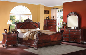 ACME Abramson California King Bed Cherry - 22344CK-Panel Beds-HipBeds.com