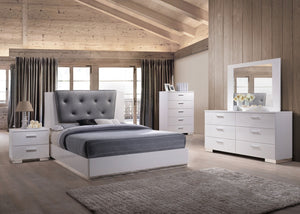 ACME Lorimar II Eastern King Bed Gray PU & White - 22617EK-Platform Beds-HipBeds.com