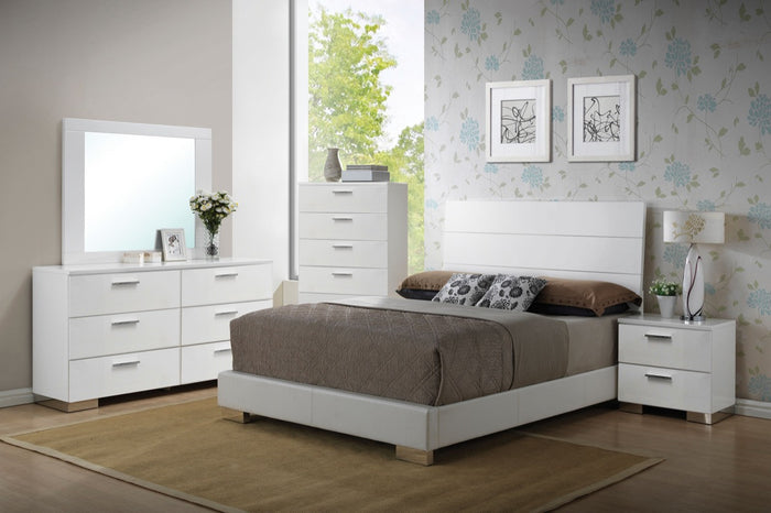 ACME Lorimar Eastern King Bed (HB w/LED) White PU & Chrome Leg - 22637AEK