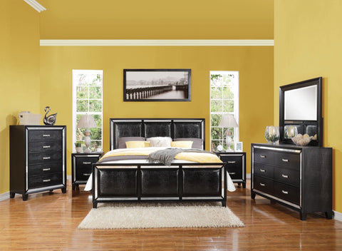 ACME Elberte Queen Bed Black Crocodile PU - 22790Q-Platform Beds-HipBeds.com