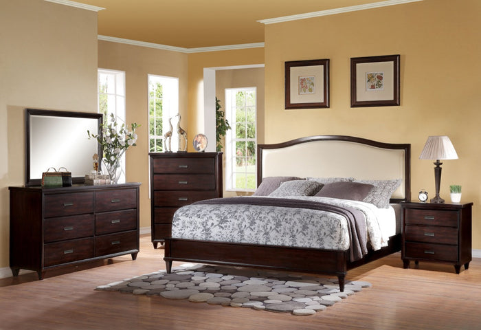 ACME Raleigh Queen Bed Cream PU & Cherry - 22820Q