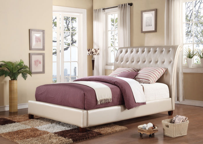 ACME Pitney Eastern King Bed Pearl PU - 22837EK