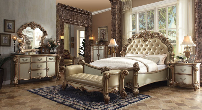 ACME Vendome Eastern King Bed Bone PU & Gold Patina - 22997EK