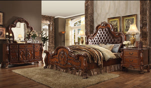 ACME Dresden Eastern King Bed PU & Cherry Oak - 23137EK-Panel Beds-HipBeds.com
