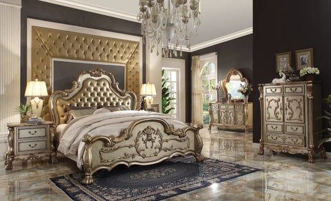 ACME Dresden Eastern King Bed Bone PU & Gold Patina - 23157EK-Panel Beds-HipBeds.com
